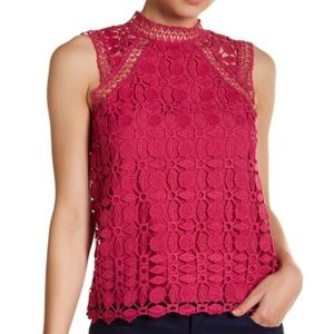Laundry By Shelli Segal Embroidery Lace Mock Neck